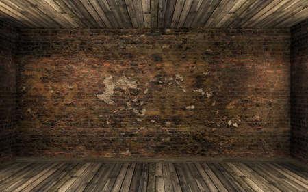 古いひびの入ったレンガの壁と古い堅木張りの床と室内の空の暗い古い放棄。薄暗いライト、3 D レンダリングと暗い雰囲気のお化けの部屋