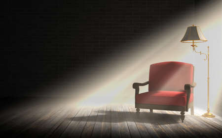 Living room interior, red armchair and classic floor lamp in dark room with sunlight rays 写真素材