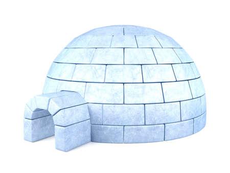 Iced igloo isolated on white background
