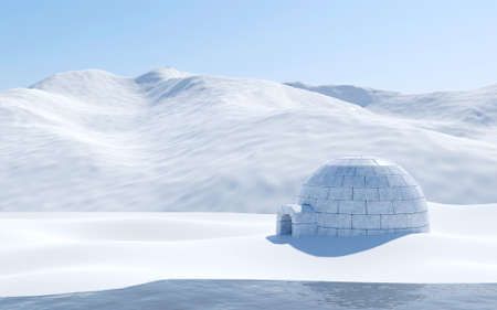 Igloo isolated in snowfield with lake and snowy mountain, Arctic landscape scene Banque d'images