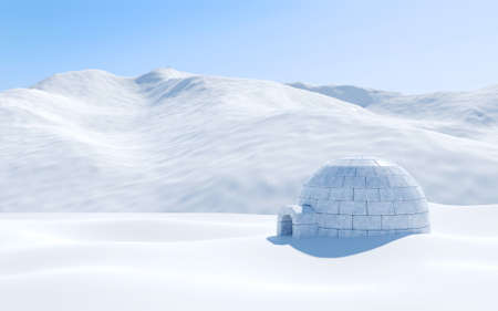Igloo isolated in snowfield with snowy mountain, Arctic landscape scene