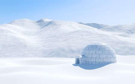 Igloo isoliert in Schneefeld mit schneebedeckten Berg, arktische Landschaft Szene Standard-Bild - 62558328