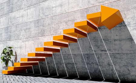 Pasos para avanzar al nivel siguiente, el concepto de éxito, escalera de color naranja con signo de la flecha y el muro de hormigón en la escena exterior