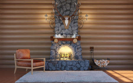Room interior in log cabin building with stone fireplace and retro leather armchair