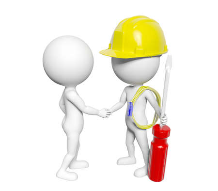 representing: 3D cartoon man shaking hand with 3D cartoon engineer, conceptual image representing cooperating and partnership concept