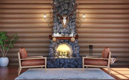 Room interior in log cabin building with stone fireplace and retro leather armchairs