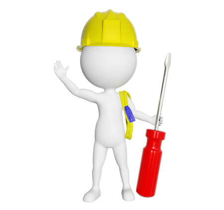 labourer: 3D cartoon character engineer greeting isolated on white background