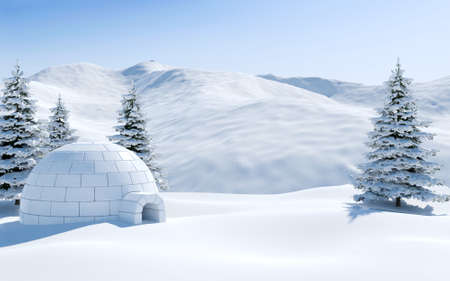 Igloo in snowfield with snowy mountain and pine tree covered with snow, Arctic landscape scene 写真素材