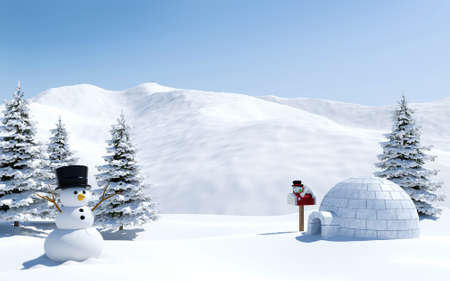 Arctic landscape, snow field with igloo and snowman in Christmas holiday, North pole