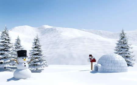 paisaje ártico, campo de nieve con iglú y muñeco de nieve en vacaciones de Navidad, el polo Norte Foto de archivo