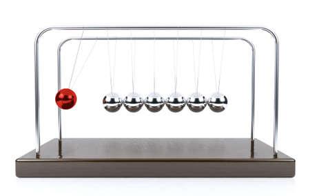 pendulum: Balancing ball Newtons cradle pendulum isolated on white background