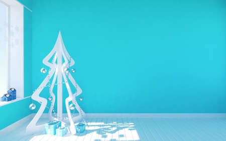 White modern Christmas tree in blue empty room with living space