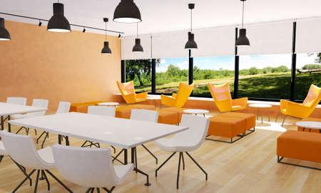 seating: Seating in modern restaurant interior, 3D rendering