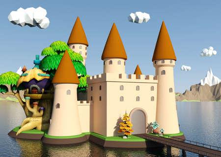 Cartoon château médiéval sur l'île avec beau paysage, rendu 3D