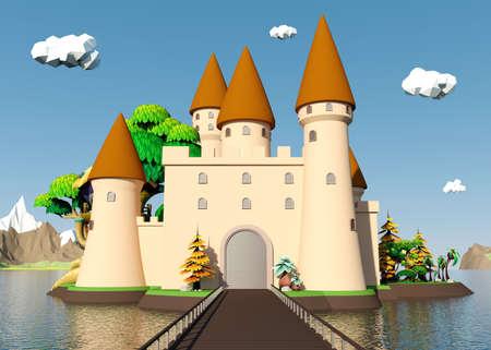漫画中世城島美しい風景、3 D レンダリング
