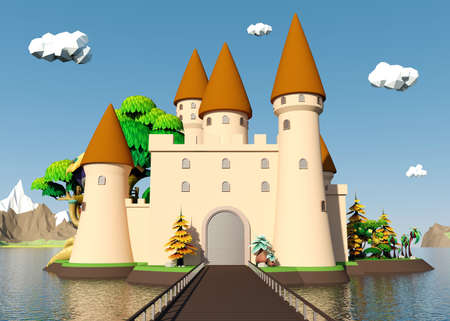 fairy: Cartoon medieval castle on island with beautiful landscape, 3D rendering