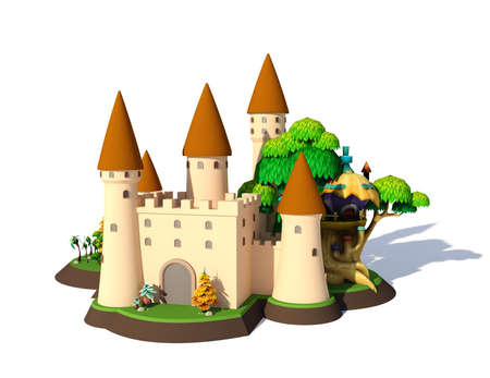 3D isometric fantasy cartoon medieval castle isolated on white background, 3D rendering