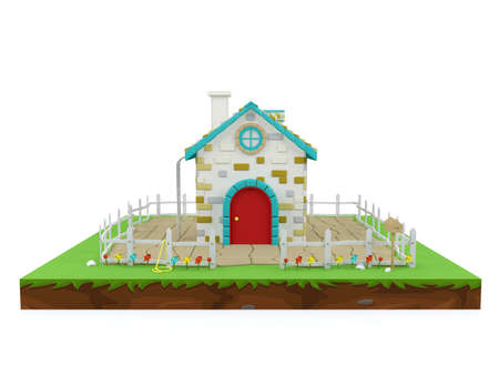 Cartoon house in isometric landscape, 3D rendering