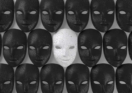 Smiling white mask among black masks, Hypocritical concept, 3d rendering