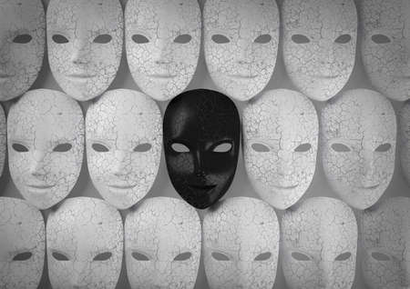 Smiling black mask among white masks, Hypocritical concept, 3d rendering Stock Photo