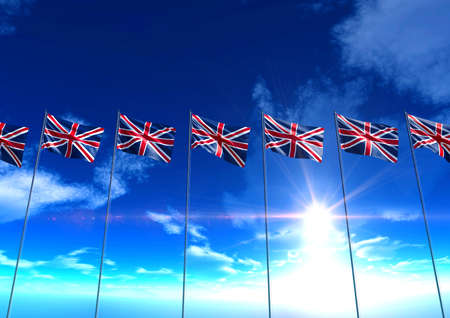 Flags of United Kingdom under blue sky, 3D rendering