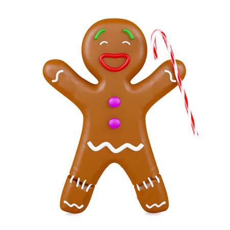 Joyful gingerbread man holding Christmas cane isolated on white background, 3D rendering