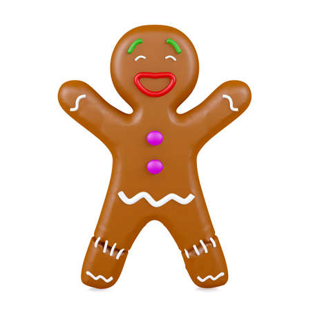 Gingerbread man isolated on white background, 3D rendering Stock Photo