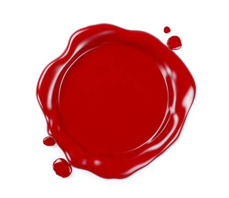 Red wax seal isolated on white background, 3D Rendering Foto de archivo