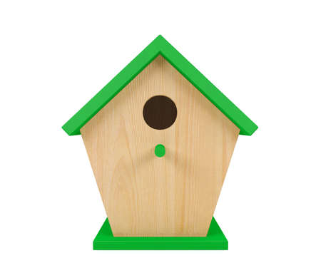 Wooden birdhouse with green roof isolated on white background, 3D rendering