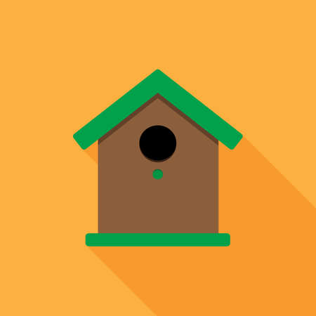 Birdhouse flat vector illustration with long shadow