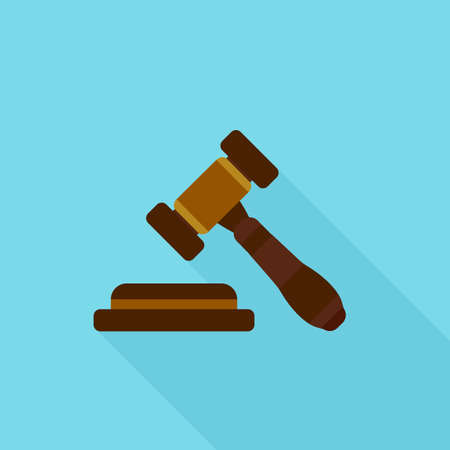Judge gavel icon. Vector illustration in flat style with long shadow.