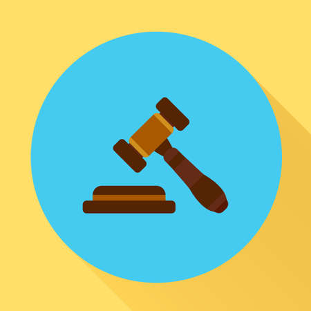 Judge gavel icon. Vector illustration in flat style with long shadow