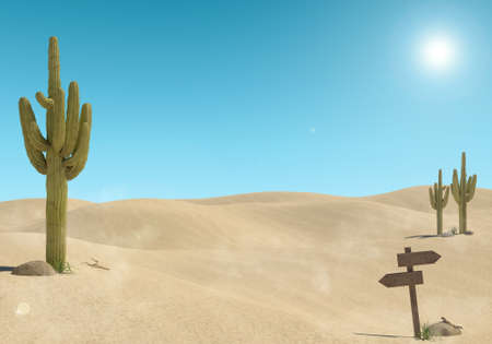 Sandy desert landscape with cactus and wooden sign on blue sky background, 3D Rendering Stock fotó
