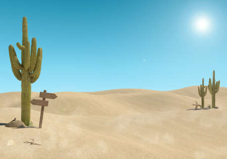 Sandy desert landscape with cactus and wooden sign on blue sky background, 3D Rendering Stock Photo