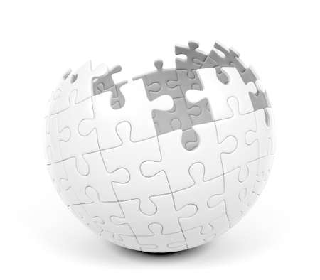 Spherical puzzle with missing pieces, 3D Rendering Stock Photo