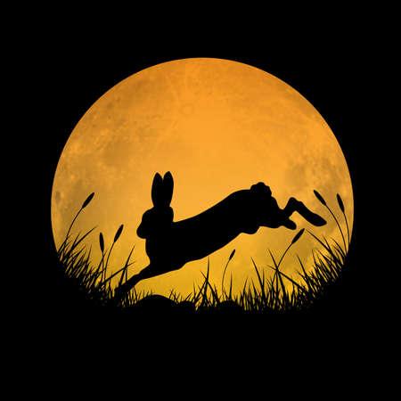 Silueta de conejo saltando sobre el campo de hierba con fondo de luna llena, ilustración vectorial