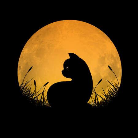 Schattenbild der Katze, die im Grasfeld mit Vollmondhintergrund, Vektorillustration sitzt