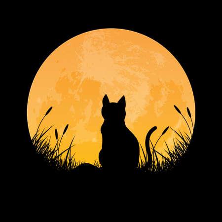 Silhouet van kat zittend in grasveld met volle maan achtergrond, vectorillustratie
