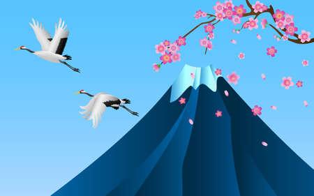 Japanese cranes flying over Fuji mountain and Sakura cherry blossom blooming, vector illustration
