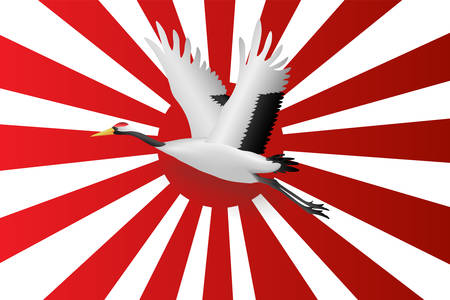 Japanese crane flying onJapanese navy flag red rising sun background,  Vector illustration