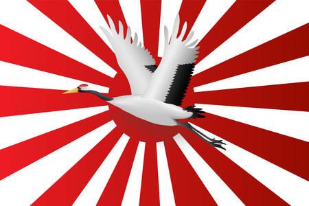 Japanese crane flying onJapanese navy flag red rising sun background,  Vector illustration
