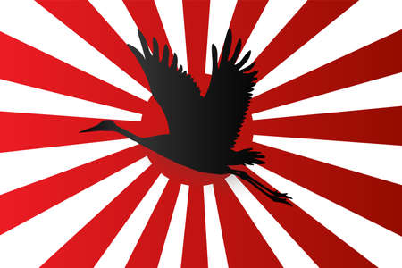 Silhouette of Japanese crane flying onJapanese navy flag red rising sun background,  Vector illustration