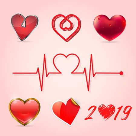 Valentine heart collection, Vector illustration