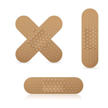Vendaje adhesivo conjunto de colección de yesos médicos elásticos, ilustración vectorial