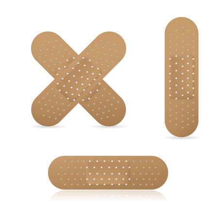 Zestaw kolekcja elastycznych plastrów medycznych bandaż samoprzylepny, ilustracji wektorowych