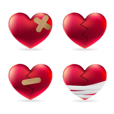 Heart injury with adhesive elastic medical plasters and bandage vector set