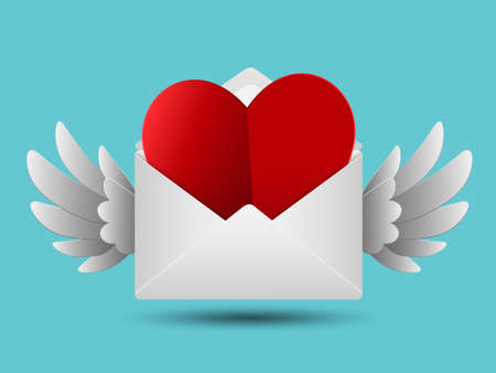 Paper cut style red valentines paper heart in white envelope with wings, Love message concept, Vector illustration Ilustracja