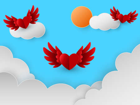 Happy Valentines day card with red hearts flying in sky over clouds, paper cut style, Vector illustration.