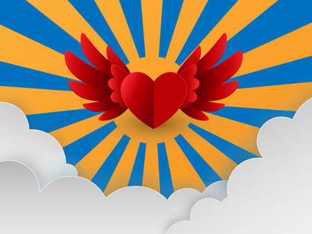 Happy Valentines day card with red hearts flying in sky over sun and clouds, paper cut style, Vector illustration.