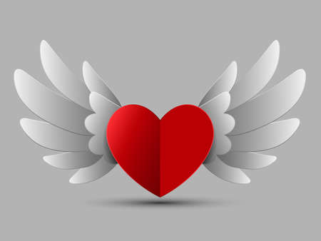 Valentine Red Heart with Wings, Vector Illustration Ilustração